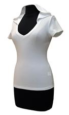 """Obrázek Bílé tričko belaroma krátký rukáv s kapucí a výstřihem do """"V"""""""