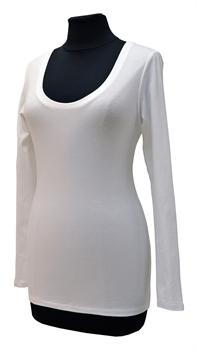 Obrázek Bílé tričko belaroma dlouhý rukáv s kulatým výstřihem