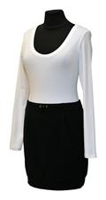 Obrázek Variace belaroma bílo-černá sport - tričko dlouhý rukáv s kulatým výstřihem, minisukně úplet