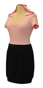 Obrázek Variace belaroma růžovo-černá sport - tričko krátký rukáv s kapucí a výstřihem do V, minisukně úplet
