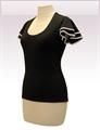 Obrázek In...line... černé tričko belaroma volánkové rukávy s bílým lemováním