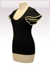 Obrázek In...line... černé tričko belaroma volánkové rukávy se zeleným lemováním