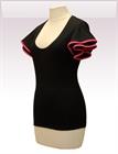 In...line... černé tričko belaroma volánkové rukávy s růžovým lemováním