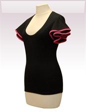 Obrázek In...line... černé tričko belaroma volánkové rukávy s růžovým lemováním